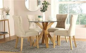 glass dining table round oak and glass dining table with 4 oatmeal chairs glass dining table