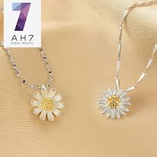ah7s925 silver single small daisy flower pendant female models pendant necklace free korean fashion sweet girls