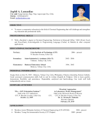Example Of Resume Format Sarahepps Com