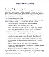 Project Status Report Template Free Structure Research Writing ...