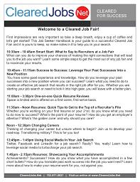 Cleared Job Fair Job Seeker Handbook Sept 8 2011 Springfield VA