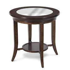 magnussen home parsons transitional cognac and antique bronze round end table