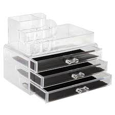 Amazon.com: Cosmetic Organizer & Acrylic Makeup Storage, Clear with 3  Drawers, Top Tray  Find Your Make Up Easily Or Use As Cute Jewelry & Makeup  Organizer ...