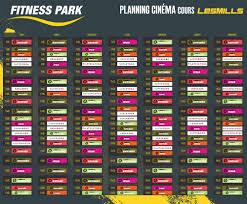 téléchargez le planning des cours collectifs lesmills cinema diffusés sur écran géant dans tous les fitness park