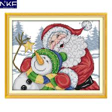 Christmas Cross Stitch Charts Nkf Merry Christmas Needle Craft Chinese Cross Stitch Charts Counted Stamped Christmas Cross Stitch Kits For Home Decoration