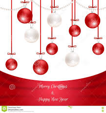 White Christmas Invitations White Christmas Card With Red Silk And Hanging Balls Suitable For