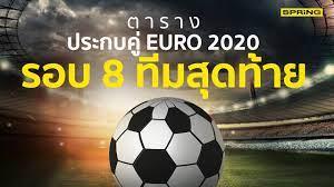 ตารางบอลยูโร 2020 โปรแกรมประกบคู่รอบ 8 ทีมสุดท้าย