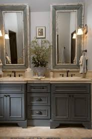 painting bathroom cabinets chocolate brown. french country bathroom, gray washed cabinets, mirrors with painted frames, chippy paint. painting bathroom cabinets chocolate brown a