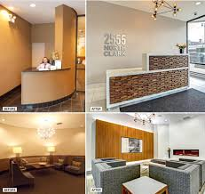 views of 2555 north clark street s concierge desk and lobby seating before and after a suite of value add renovations