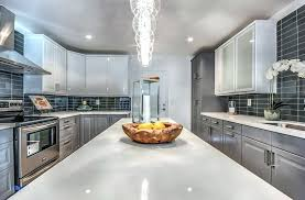 white and gray quartz countertops contemporary kitchen features gray stained cabinets