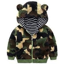 Happy childhood Toddler Boys Coats Ear Hoodie Fleece Jacket Coat Winter Warm Outerwear Outfit Clothes Green Amazon.com: