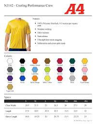 Size Charts For School Athletic Orders