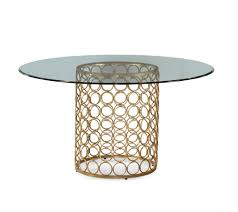 bassett mirror carnaby 54 inch round glass top dining table beyond s