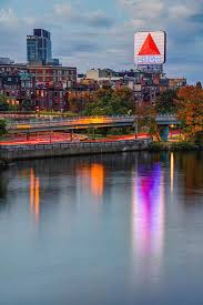 Boston Citgo Sign and Charles River in Autumn Photograph by Gregory Ballos