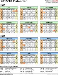 Word Year Calendar Split Year Calendar 201516 July To June Excel Templates Yearly