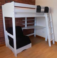 Simple White Painted Oak Wood Loft Bed With Corner Desk Underneath As Well  As