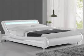 Double Bed Led Light Adeline Illuminated Led Wave Bed Frame Faux Leather White