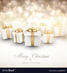 Gifts Background Golden Winter Background With Christmas Gifts