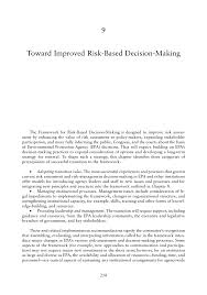 toward improved risk based decision making science and page 258