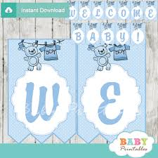 Welcome Home Baby Boy Banner Blue Clothesline Baby Shower Banner D151