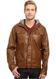 english laundry pu leather jacket w fleece hood
