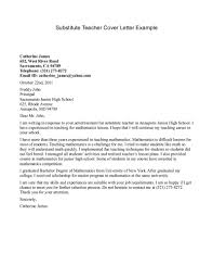 Simple Sample Cover Letter For Substitute Teacher 89 For Your