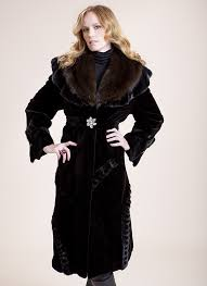 black sheared mink walking coat with russian sable collar