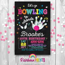 Personalised Birthday Invitations For Kids Bowling Personalised Birthday Party Invitations Invites Kids Ten Pin