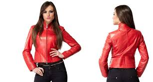 women fire red genuine leather jacket 76868 zoom helmet