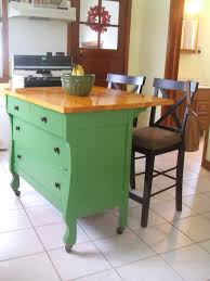 Classic Green Polished With Wood Top Butcher Block Island With ...