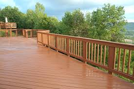 freshly stained wood deck with railing outdoor kits complete your style and safety about railings outdoor deck railing