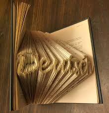 book word wood metal pages art sketch drawing 3d deutsch german carving relief folding lettering