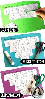 systems of equations pyramid sum puzzles 3 versions graphing substitution elimination