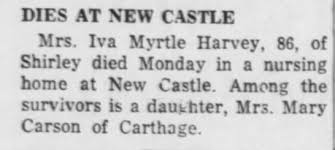Harvey, Iva Myrtle, Death, Rville Rep, Rville, IN, Tues, Feb 21, 1956, Page  2, col 1 - Newspapers.com