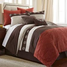 brown and burnt orange beddding 8 pce comforter set