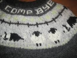 Border Collie Knitting Chart Close Up Of The Border Collie And Sheep Pattern