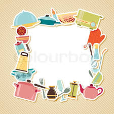 Kitchen utensils appliances and cookware on striped background with