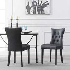 set of 2 elegant tufted design black faux leather upholstered dining chairs