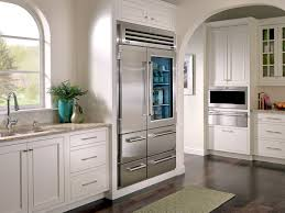 Glass Door Home Refrigerator Kitchen With White Cabinets And Stainless Steel Glass Door