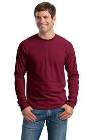 Cotton Long Sleeve Tee Shirt Color Cardinal Red