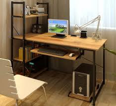 exceeder ii large workstation wood steel computer desk with storage shelves natural