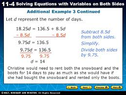 holt ca course 1 11 4 solving equations with variables on both sides additional example