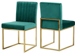 Image Dining Room Chairs Houzz Giselle Velvet Dining Chairs Set Of 2 Green Gold Base