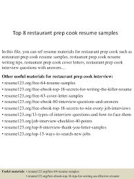 Top 8 restaurant prep cook resume samples In this file, you can ref resume  materials ...