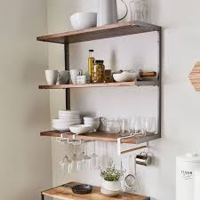 industrial wood metal wall shelf