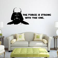 star wars wall decals the force is strong with this one star wars wall sticker darth on star wars wall art stickers with star wars wall decals the force is strong with this one star wars