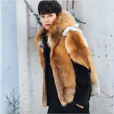 mens fake fur coat winter warm thicken fake fur coats casual hooded faux fur jacket long