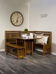 mission solid wood breakfast nook set with storage amish breakfast nook set