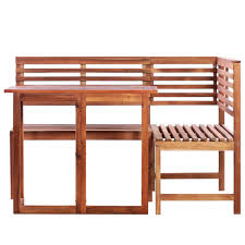 vidaXL Solid Acacia Wood Balcony Table and Corner <b>Bench Set 2</b> ...