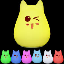 Cat Shaped Night Light Color Changeable Silicone Led Lamp Kawaii Cat Shaped